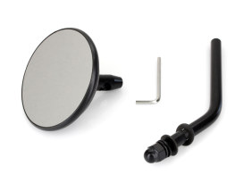 3in. Round Mirror with Short Stem - Black. Fits Left & Right.