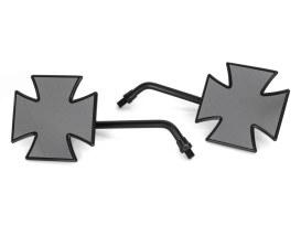 Maltese Cross Mirrors - Black. Metric Thread.