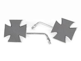 Maltese Cross Mirrors - Chrome. Metric Thread.