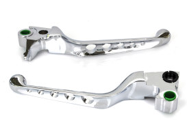 5 Hole Hand Levers - Chrome. Fits Softail 1996-2014, Dyna 1996-2017, Touring 1996-2007 & Sportster 1996-2003.