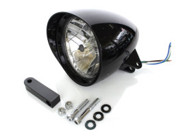 5-3/4in. Billet Headlight with Visor & Extended Mount - Gloss Black. </P><P>