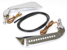 Slim Sickle / Avenger Mirrors with LED Indicators & Chrome Finish.