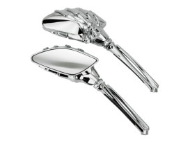 Mini Reaper Skeleton Hand Mirrors - Chrome with Chrome Stem.