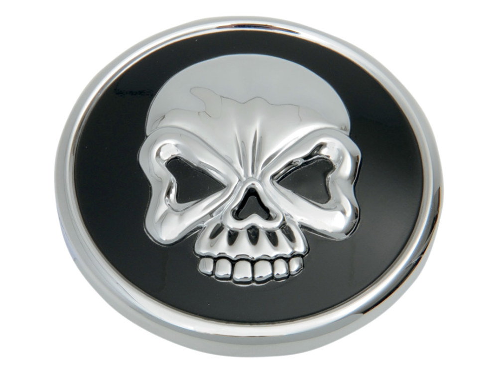 Right Hand Vented Skull Screw-In Fuel Cap - Chrome & Black. Fits H-D 1996up.