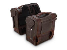 Burly Throw-over Saddlebags. Dark Oak Wet Waxed Finish