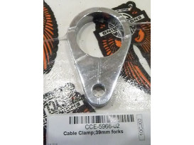 Cable Clamp - Chrome. Has 1 x 10mm Brake Line Hole. Fits 39mm Forks.
