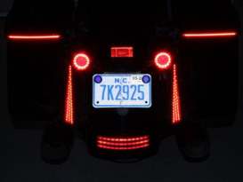 LED Fascia Panels. Red Run/Turn/Brake with Smoke Lens & Chrome Housing. Fits Street Glide, Road Glide & Road King Special 2014up.