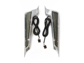 LED Fascia Panels. Red Run/Brake and Amber Turn with Smoke Lens & Chrome Housing. Fits Street Glide, Road Glide & Road King Special 2014up.