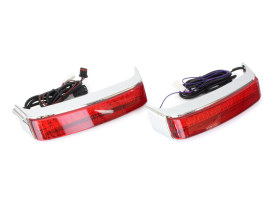 BAGZ Saddlebag Lights with Red Lens - Chrome. Fits Touring 2014up.