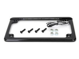 Flat Low Profile Number Plate Frame with LED Illumination & Black Finish.