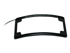Curved Low Profile Number Plate Frame with LED Illumination & Black Finish.