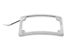 Curved Low Profile Number Plate Frame with LED Illumination & Chrome Finish.