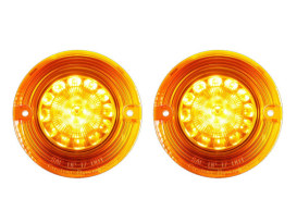 ProBeam LED Amber Turn Signal Inserts With Amber Lenses. Fits Front and Rear on Most FL Models 1986up with Flat Style Indicators.