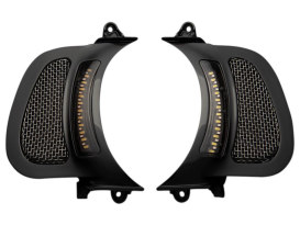 Dynamic LED Vent Inserts With Amber & White LED's - Black with Black Mesh. Fits Road Glide 2015up.