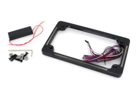 Flat Number Plate Frame with LED Amber Turn Signals & Red Brake Light - Black.