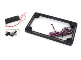 Flat Number Plate Frame with LED Amber Turn Signals, Red Brake Light & Black Finish.