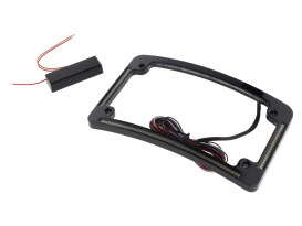 Curved Number Plate Frame with LED Amber Turn Signals & Red Brake Light -Black.