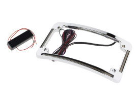 Curved Number Plate Frame with LED Amber Turn Signals, Red Brake Light & Chrome Finish.