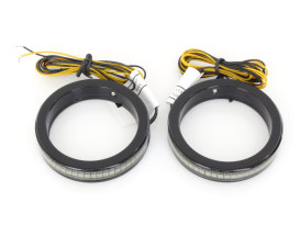 49mm Billet Fork Wrap-Around Turn Signals. Black with Smoked Lens & Amber LED.