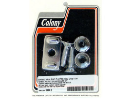 Axle Adjusting Kit with Swing Arm End Plates & Wheel Adjuster Hardware - Chrome. Fits Dyna 1991-2005.
