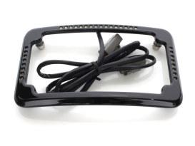 Curved Slick Signal Run, Turn, Brake & Number Plate Frame - Black. Fits Softail 2011-2017.