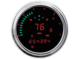 4-1/2in. KPH Speedometer with Tachometer & Red Graphics. Fits Softail 2011-2017, FLD, FXDC & FXDF 2012-2017 & FLHR 2014up.