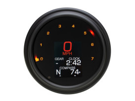 4-1/2in. Tank Mount KPH Speedometer with Tachometer - Black. Fits Big Twin 1936-2003.