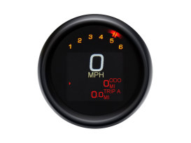 3-3/8in. Round KPH Speedometer with Tachometer - Black. Fits Dyna 2004-2011 & Sportster 2004-2013.