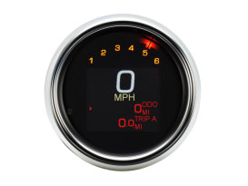 3-3/8in. Round KPH Speedometer with Tachometer - Chrome. Fits Dyna 2004-2011 & Sportster 2004-2013.
