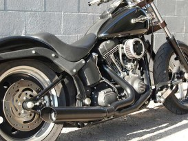 Low Cat 2-into-1 Exhaust - Black. Fits Softail 1986-2017 & Rocker 2008-2011.