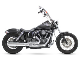 Boarzilla 2-into-1 Exhaust with Upswept Muffler & Chrome Finish. Fits Dyna 2006-2017.