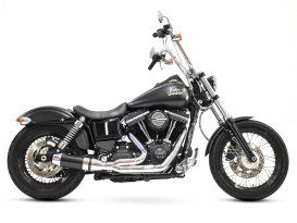 Bob Cat 2-into-1 Exhaust with Chrome Finish & Black Sleeve Muffler. Fits Dyna 2006-2017 includes Dyna Fat Bob & Wide Glide Models.