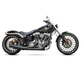 Low Cat 2-into-1 Exhaust with Louvered Baffle & Black Finish. Fits Softail Breakout 2013-2017.