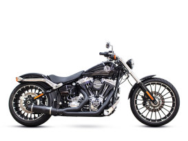 Bob Cat 2-into-1 Exhaust - Black with Black Sleeve Muffler. Fits Softail Breakout 2013-2017.