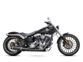 Bob Cat 2-into-1 Exhaust - Black with Carbon Fibre Sleeve Muffler. Fits Softail Breakout 2013-2017.