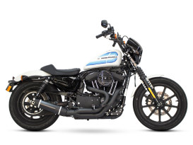 Bob Cat 2-into-1 Exhaust - Black with Black Satin Sleeve Muffler. Fits Sportster 2004up.