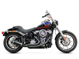 Bob Cat 2-into-1 Exhaust - Black with Black Satin Sleeve Muffler. Fits Softail 2018up Non-240 Tyre Models.