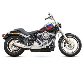 Bob Cat 2-into-1 Exhaust - Chrome with Aluminium Sleeve Muffler. Fits Softail 2018up.
