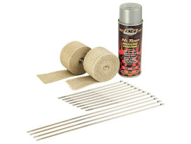 Tan Heat Wrap Kit. 2in. x 15 Foot Roll with Locking Ties & Aluminum Spray.
