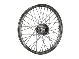 21in. x 2.15in. Front 40 Spoke Cross Laced Wheel - Chrome. Fits Softail 1984-1999, Dyna Wide Glide 1993-1999 & FXWG 1984-1986.