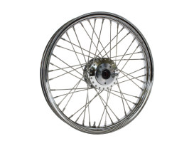 21in. x 2.15in. Front 40 Spoke Cross Laced Wheel - Chrome. Fits Narrow Glide Dyna 1991-1999, FXR 1984-1994 & Sportster 1984-1999.