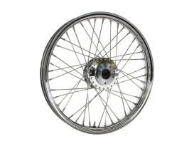 21in. x 2.15in. 40 Spoke Cross Laced Front Wheel - Chrome. Fits FX Softail 2000-2010, Softail Fat Boy 2007 & Dyna Wide Glide 2000-2005.