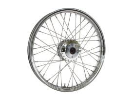 21in. x 2.15in. 40 Spoke Cross Laced Front Wheel - Chrome. Fits Dual Disc FX Softail 2000-2010, Softail Fat Boy 2007 & Dyna Wide Glide 2000-2005.