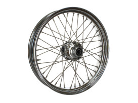 21in. x 3.5in. 40 Spoke Cross Laced Front Wheel - Chrome. Fits FL Softail 2011up