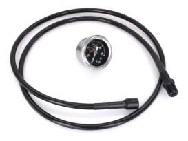 Black Remote Oil PSI Gauge Kit. Fits Milwaukee-Eight Softail 2018up.