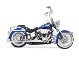 True Dual Exhaust - Chrome with Chrome Sharktail End Caps. Fits Softail 2007-2017.