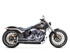 Independence Shorty Exhaust with Black Finish & Chrome Ends Caps. Fits Softail Breakout 2013-2017 & Rocker2008-2011 Models.