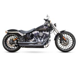 Declaration Turnouts Exhaust with Black Finish. Fits Softail Breakout 2013-2017 & Rocker 2008-2011 Models.