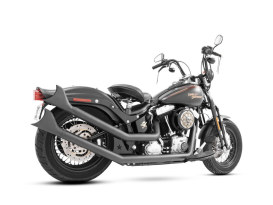Upsweeps Exhaust - Black with Black Sharktail End Caps. Fits Softail 1986-2017.