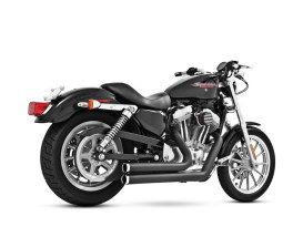 Independence Shorty Exhaust - Black with Chrome End Caps. Fits Sportster 2004up.